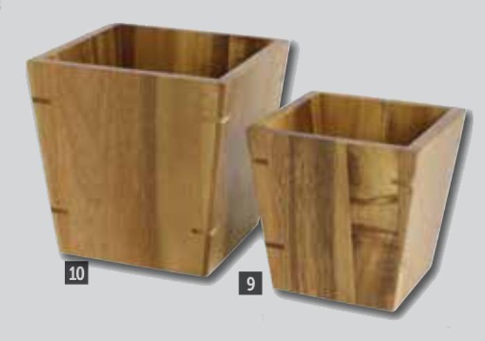Cuencos de madera cuadrados
