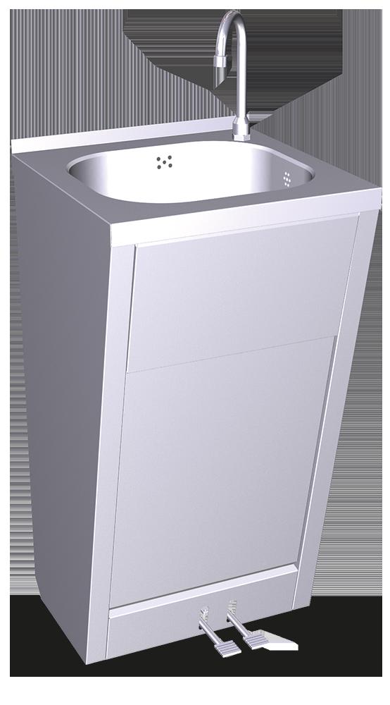Lavamanos registrable con doble pedal de agua fría y caliente