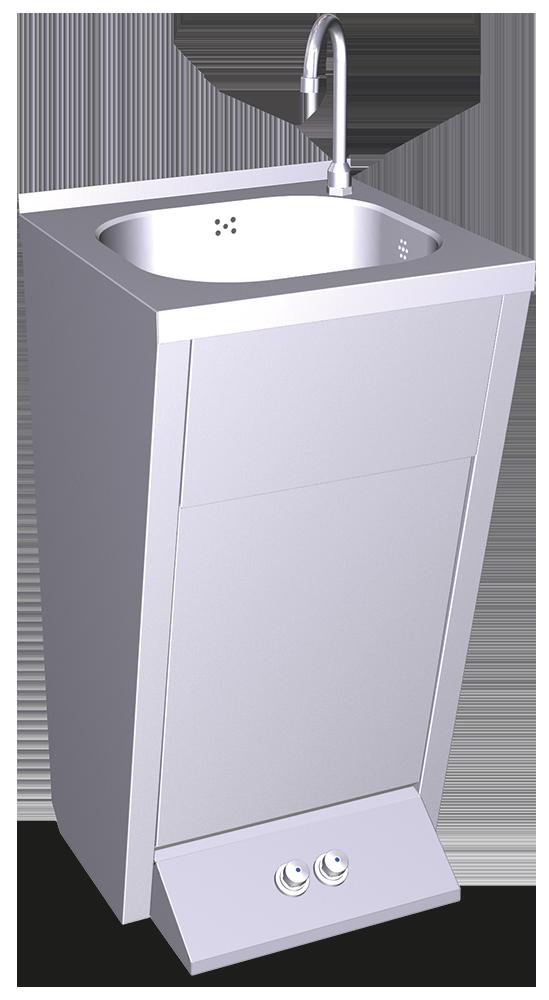 Lavamanos registrable con pedestal doble pulsador agua fría y caliente
