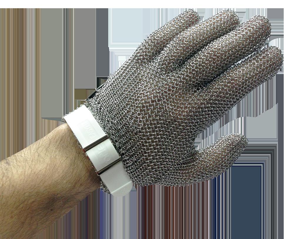 Guantes de cinco dedos ambidiestro en malla de acero inoxidable