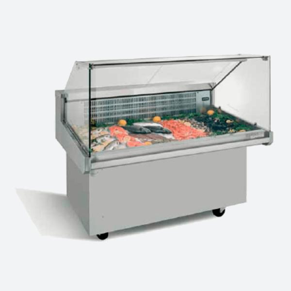 Vitrina expositora refrigerada carro para pescado  serie vrp