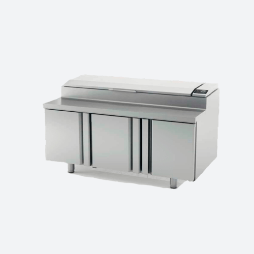 Mesa y bandeja superior refrigerada para pizza serie mev800